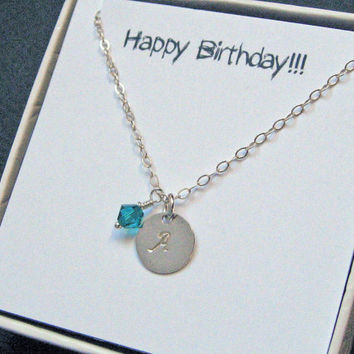 Birthstone Necklace, Personalized Disc Necklace, Initial Necklace, Sterling Silver,Monogram Disc, Swarovski Birth Crystals, Birthday Gift