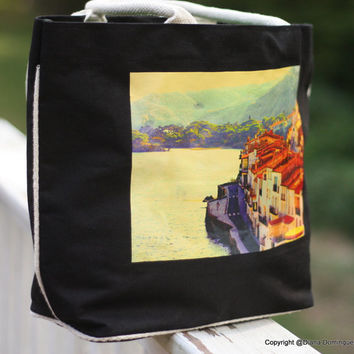 Beach Bag-Cadaques Photo Black Canvas Tote Bag with  cotton handles