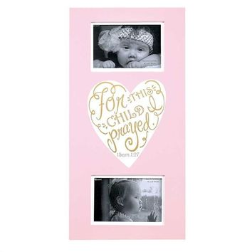 Christian Photo Frame - For This Child I Prayed Wall Art Photo Frame (Pink)