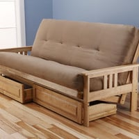 Woodbury Full Size Futon Sofa and Drawer Set, Natural Finish Hardwood Frame And Soft Suede Innerspring Mattress, Peat