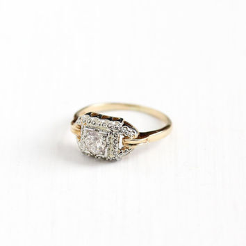 Vintage 14k Yellow & White Gold 1/3 Carat Diamond Solitaire Ring - Size 6 1/4 Art Deco 1940s Fine Engagement Bridal Two Tone Halo Jewelry