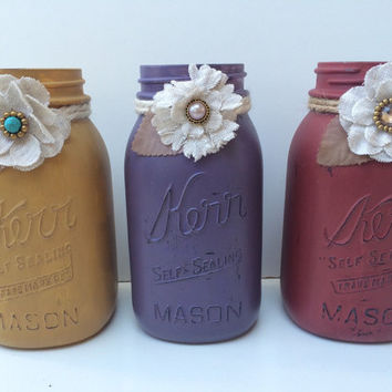 Painted Distressed Mason Jar - Maroon, Purple and Yellow - Decorative Jar - Vase - Home Decor