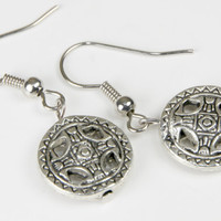 Aztec, Mayan, Silver Toned, Coin, Dangle,  Earrings