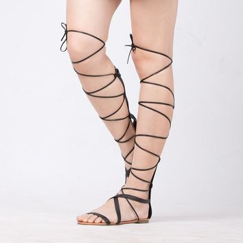 Lace Up Knee High Boots Gladiator Tie String flat sandals