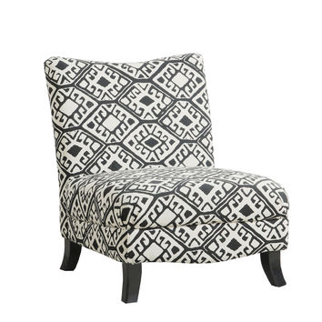 "Black / Beige "" Abstract "" Fabric Accent Chair"
