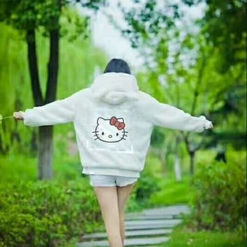 HELLO KITTY Cute White Pink Cat Hoodie Shirt B-JJ-LHYCWM