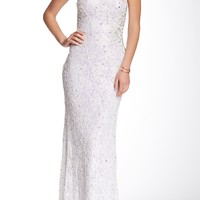 Beaded Lace Strapless Gown