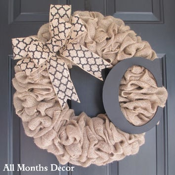 Burlap Wreath With Black Medallion Burlap Bow U0026 Wooden Letter, Rustic  Country, Spring Easter