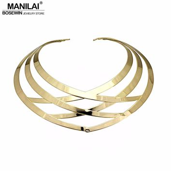MANILAI Trendy Metal Hollow Torque Choker Necklaces Women Indian Punk Geometric Collar Statement Necklace Jewelry Accessories