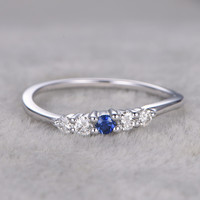 0.15ct Round Blue Sapphire Engagement Ring Diamond Wedding Ring 14K White Gold Antique Design