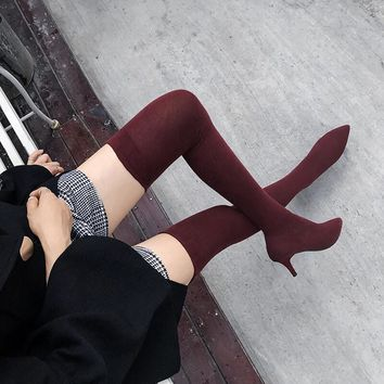 High Heel Pointed Toe Over Knee Sock Boots