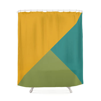 2 Mixed Color Options Geometrical Tones Shower Curtains, Bathroom Shower Curtain, Minimal Pattern Design, Home Decor, Vintage Art, Geometric