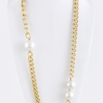 Large Pearl Ball Link Chain Necklace