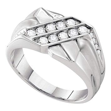 14kt White Gold Men's Round Diamond Double Row Rectangle Band Ring 5/8 Cttw - FREE Shipping (US/CAN)