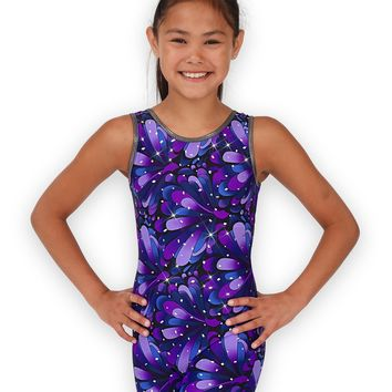 Leap Gear Purple Peacock Gymnastics Biketard