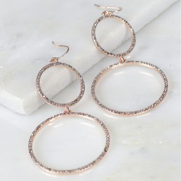 Double Hoop Drop Earrings Rose Gold