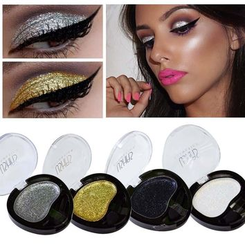 New Brand Eyeshadow Single Professional Makeup Long Lasting Silver Gold Metallic Glitter Eyes Shadow Color Palette