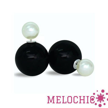 Melochic Two Tone Mise En Dior Double Sided Double Stud Tribal Earrings