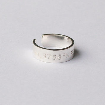 10% OFF: Latitude Longitude Ring - Coordinates Ring - Location Ring in Sterling Silver - Stamped Silver Ring