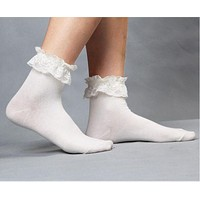 37YIMU 1 Pair Fashionable Lovely Cute New Vintage Retro Froral Lace Ruffle Frilly Ankle Socks Ladies 5 Colors