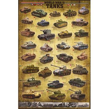 World War II Tanks Military Poster 24x36