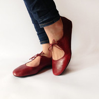Passion - Deep Red handmade ballet flats - CUSTOM FIT
