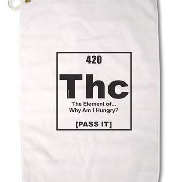 "420 Element THC Funny Stoner Premium Cotton Golf Towel - 16"" x 25 by TooLoud"