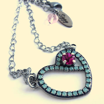Sweetheart Swarovski crystal necklace, heart pendant, sweet 16 heart, opal and fuchsia, better than sabika