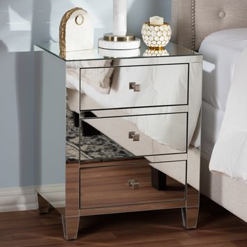 Baxton Studio Rosalind Hollywood Regency Glamour Style Mirrored 3-Drawer Nightstand Set of 1