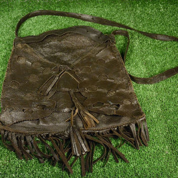 Vintage Leather Bag With Tassel, Brown Leather Fringe Bag, Hippie Bag 1960s, Brown Shoulder Bag, Genuine Leather Shoulder Bag