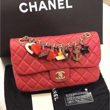 CHANEL Matelasse Lambskin Chain Shoulder Bag Porch Charm Purse Red Women Rare !