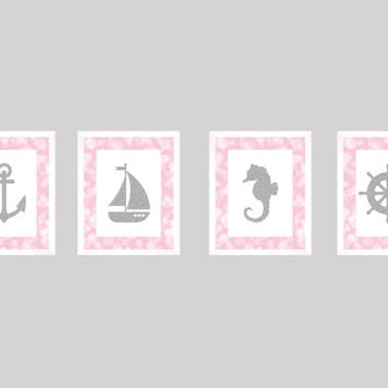 Nautical Prints, CUSTOMIZE YOUR COLORS, 8x10 Prints Set of 4 Nautical Pink Bokeh Silver Boat Anchor Nursery Decor Print Kids Art Baby Room