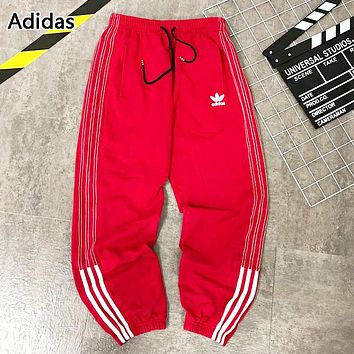 Adidas New Fashion Logo Print Women Men Sports Leisure Pants Red