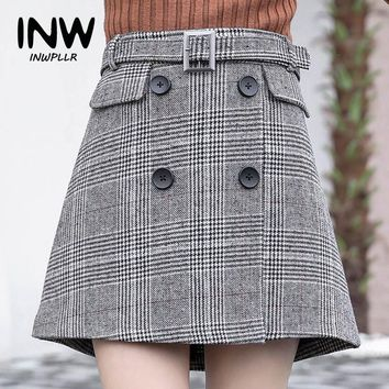 New Arrival Houndstooth Skirt Women 2018 Fashion High Waist Skirts Womens Casual Autumn Plaid Skirt Feminino Tartan Jupe Femme