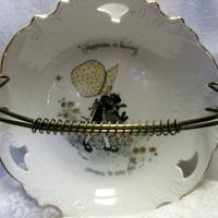 Vintage Holly Hobby Dish with Wire Handle - Happiness is having . . .Someone to Care For