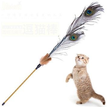 Kitten Cat Teaser Interactive Toy  Rod with Bell Feather Products For pet cat toys interactive