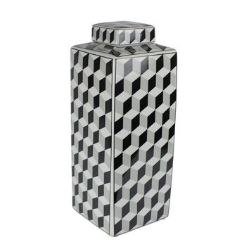 Decorative Patterned Ceramic Covered Jar, Black And White