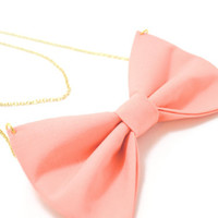 Peach and Gold Bow Necklace