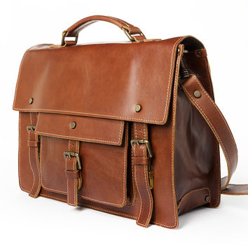 Authentic handmade in Italy leather briefcase satchel - Brown