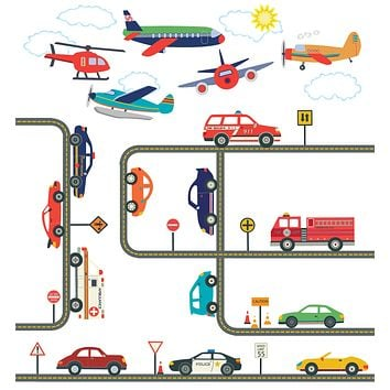 Car Wall Decals, Emergency Vehicle Decals, Airplane Decals, Gray Straight & Curved Road Wall Stickers, Removable Reusable Wall Decals