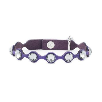 The Purple Leah Scalloped Leather with Purple Crystals by Rustic Cuff