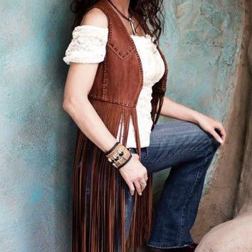 Wild Instincts Double Crossed Fringe Vest~ Light Acorn