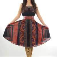 80s Boho pleated paisley border design dress