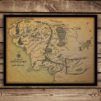 Christmas SALE 10% discount ON -  Map of Middle earth, Middle earth map, Lord of the rings poster,fan art, christmas gift idea