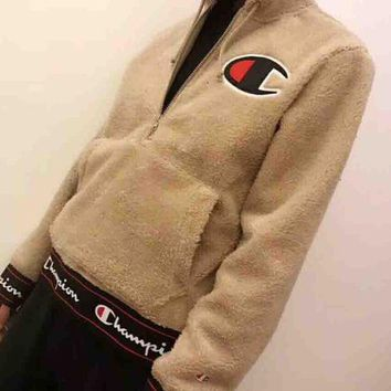 DCCKB62 Champion 2018 New Teddy Velvet Thickened Hooded Sweatshirt F-MG-FSSH Khaki