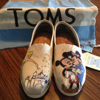 Disney Toms (Mickey and Minnie Mouse, Tinkerbell) Hand Painted and Themed Tops