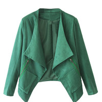 Green Faux Suede Long Sleeve Slim Blazer