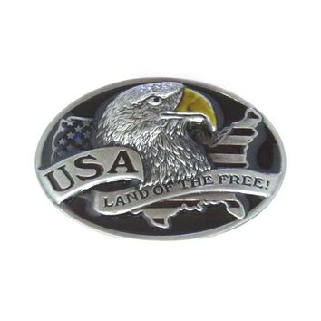 Oval Eagle USA Land Of The Free   Belt Buckle