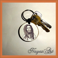 Keychain personalized Bob Marley. Accessories Bob keyring. White Wooden Handmade Keyring Keychain. Unique keychain Wooden natural slice gift