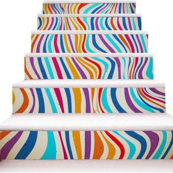 New 3D DIY PVC Waterproof  Stair Decals Wall  Floor Sticker Colorful Stripes QS0